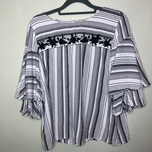 LOFT Striped Tiered Sleeve Blouse Size Small